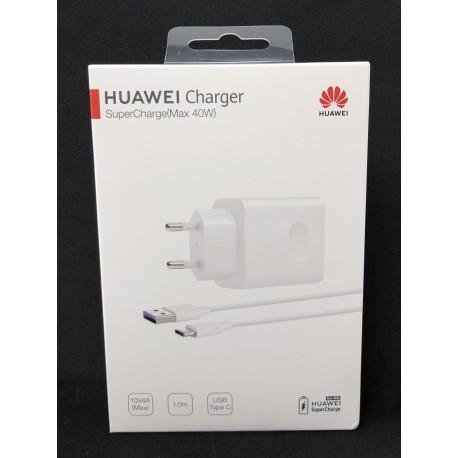 Pack complet chargeur secteur 40W et câble USB Type-C ORIGINAL Blanc de HUAWEI - Présentation de la boîte avant